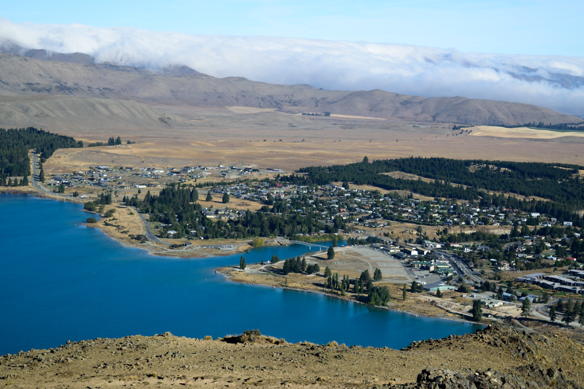 Town of Tekapo from Mt John Observatory