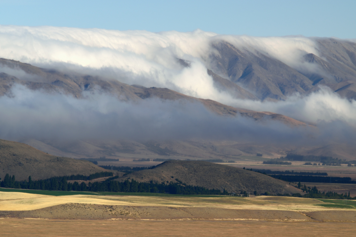 Clouds in Mackenzie mountains from Mt John Observatory