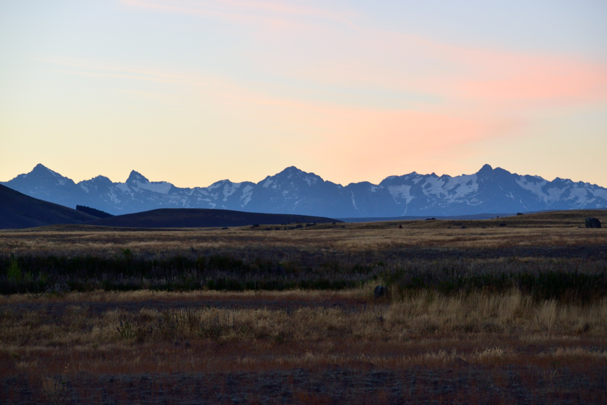 Mountains near cheap campground outside of Lake Tekapo